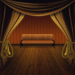 Stage with golden curtains