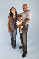 Asian wife, African American husband and their daughter