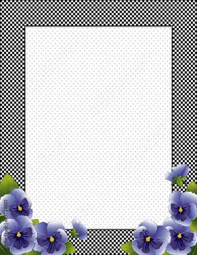 Gingham Frame. Pansy Flowers, polka dot background, copy space