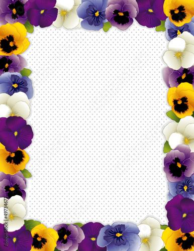 Pansy Flower Frame, Violas, polka dot background, copy space