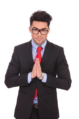 business man salutes in oriental manner