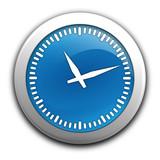 temps qui passe sur bouton bleu poster