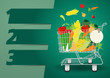 Design template Shopping cart with fruits and vegetables