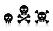 Cartoon skull with bones and hearts vector icon set