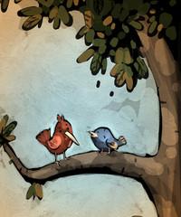 pajaritos en el árbol