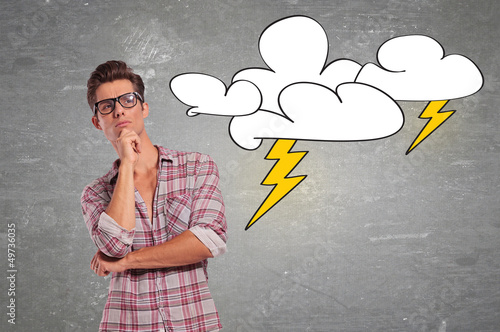 man with glasses facing a big problem