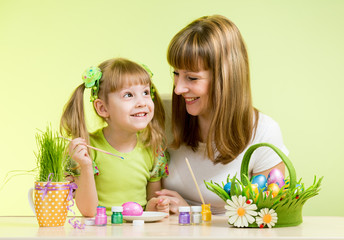 mother with child girl play and paint easter eggs