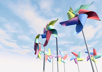 Colorful Pinwheels On Blue Sky Perspective