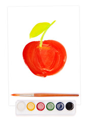 painted apple, watercolor set and brush
