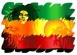 Постер, плакат: Reggae Singer Poster Cantante Reggae Sfondo Esotico Vector