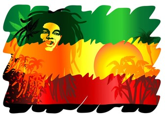 Reggae Singer Poster-Cantante Reggae Sfondo Esotico-Vector