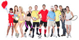 Large group of sports people poster