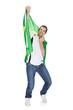 Portrait Of A Happy Man Holding An Brazilian Flag