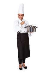 Female Chef With Cooking Pot In Hand