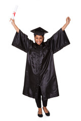 Excited Graduate Woman Holding Certificate