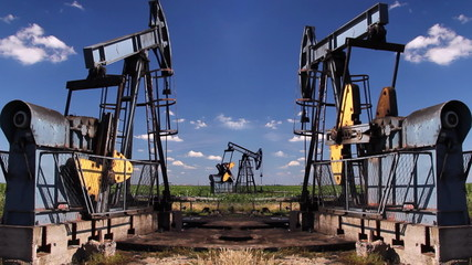 Oil Pump Jack in a Field