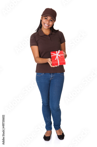 Young Woman Giving Gift Box