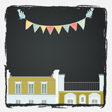 Greeting card with cartoon Paris roofs, birds and bunting flags