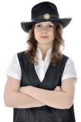 Junge Frau im Cowboy-Kostüm
