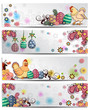 Easter floral banner white background