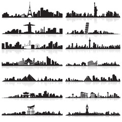 vector illustration of skyline of tall building of famous city