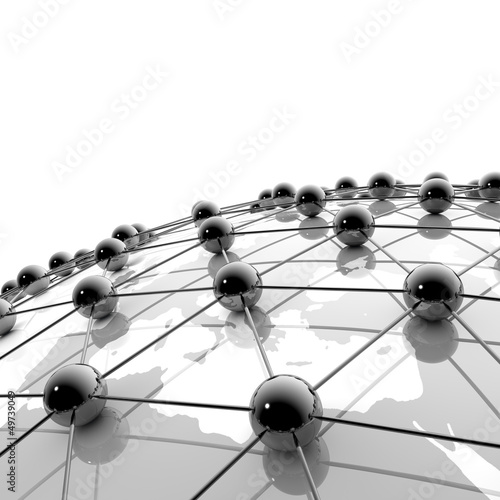 Erdball, Netzwerk und Internet  - 3D Illustration © ag visuell