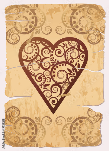 Vintage Heart ace poker playing cards, vector