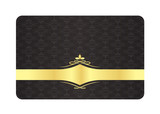 Black Decorative Card with Vintage Pattern and Golden Label