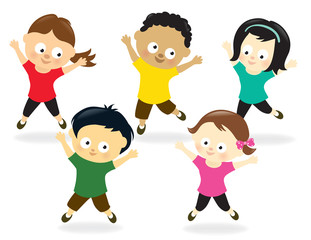 Kids doing Jumping Jacks