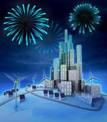 pyrotechnics above futuristic windmill powered city
