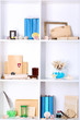 Beautiful white shelves with different travel related objects