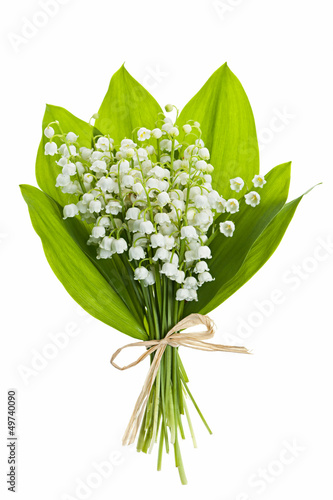 Poster Lelietje van dalen Lily-of-the-valley flowers on white