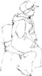 a sketch a woman in a cap sits on a chair