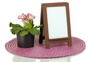 Brown photo frame as easel isolated on white