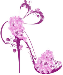 Shoes on a high heel decorated with orchids