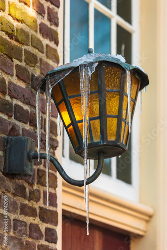 Antique Dutch lantern covered with icicles