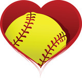 Heart with Softball Inside
