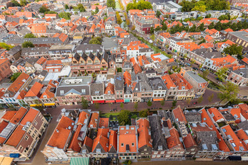 Aerial view of the historic city Delft