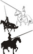 medieval knight on horseback - icon and silhouettes