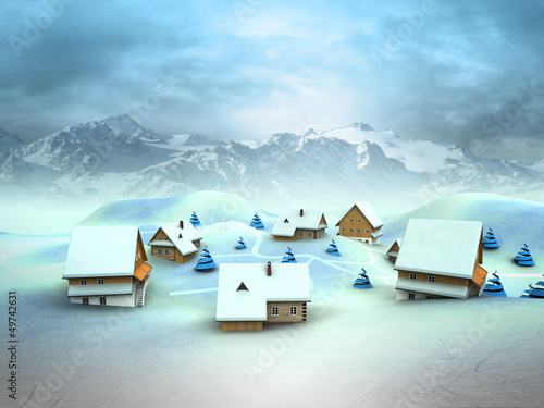 Leinwandbild Motiv Winter village landscape with high mountain landscape