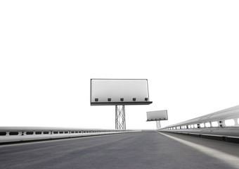 highway with two billboards afar isolated on white