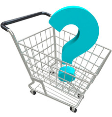 Question Mark in Shopping Cart Customer Service