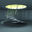 indoor spiral staircase with yellow magic holy flare