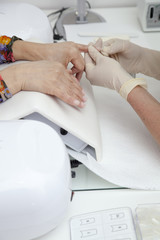 Making nail extension, French manicure