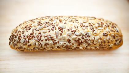 Multi grain bread on wooden table