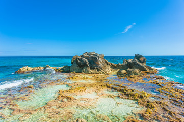 Rock formation on southern tip of Isla Mujeres, Mexico
