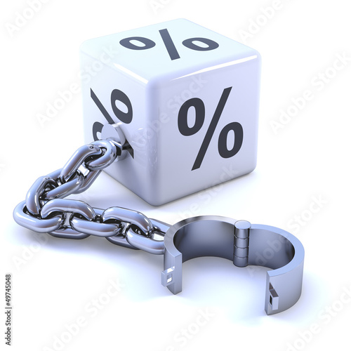 White dice with percent symbol and chain