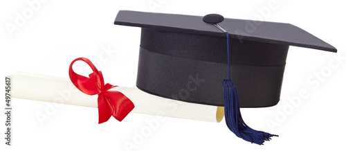 mortarboard and parchment certificate isolated on white backgrou