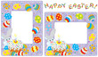 Easter borders with Bunny, cake and eggs