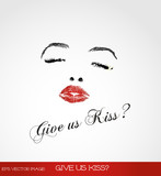 eps Vector image:Give us kiss?
